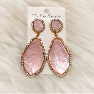 Pink marble stone dangle statement fashion earring